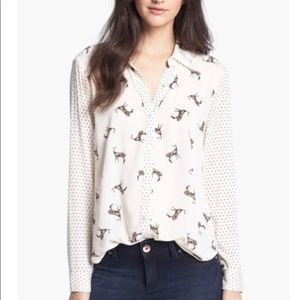 Ella Moss Jane doe deer print button down blouse M